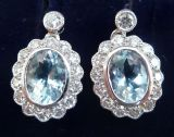Gorgeous art deco 18ct 18k white gold aquamarine and diamond vintage antique cluster drop earrings